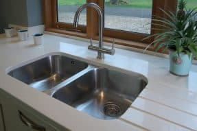Sink with boiling water tap